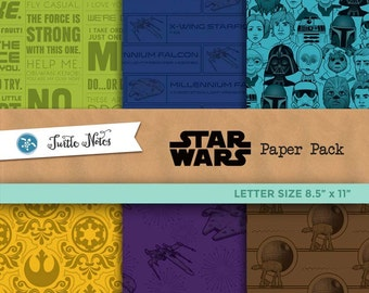 Star Wars Letter Sized Paper Pack : 36 Printable Digital Scrapbook Papers