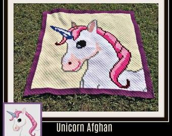 Unicorn Afghan, Crochet Pattern, C2C Graph, Written Word Chart