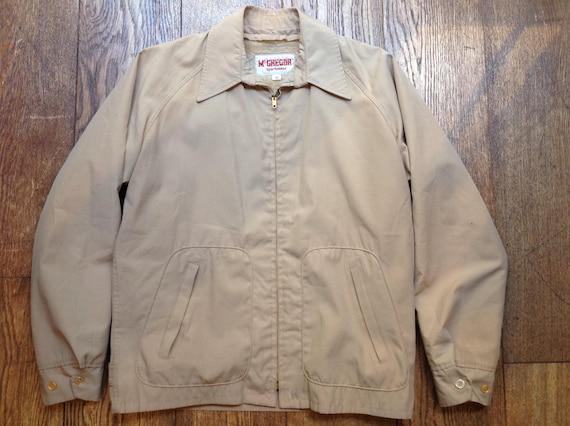 """Vintage 1960s 60s 1970s 70s beige cream McGregor drizzler golf jacket removable liner Talon zipper Ivy League style mod  44"""" chest"""