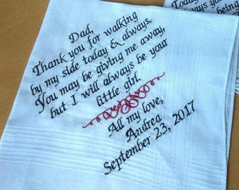 Father of the Bride Handkerchief Hankie Gift Wedding Custom Personalized