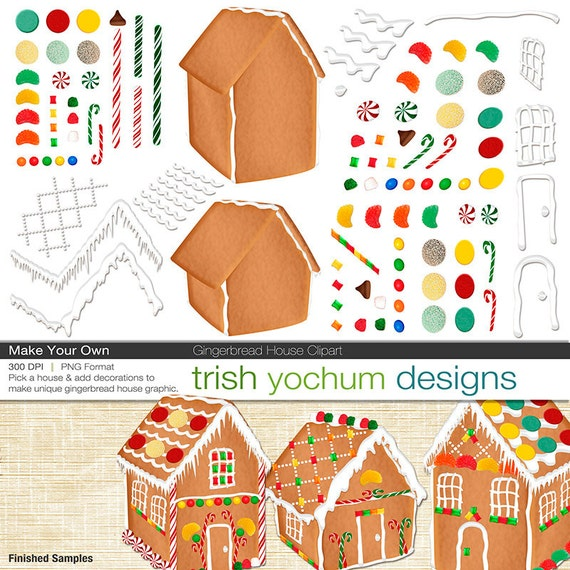 christmas clipart christmas gingerbread house digital clipart rh etsystudio com make your own clip art app make your own clipart free