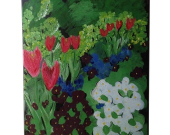 Spring Red Tulips original oil painting