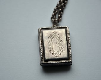 Vintage Rectangle Locket Necklace, book Sterling Silver Locket with 22 inch Sterling Chain