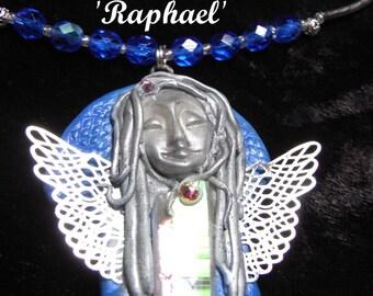 Raphael – Angel Aura quartz necklace with swarovski crystal,  Czech fired ab blue beads