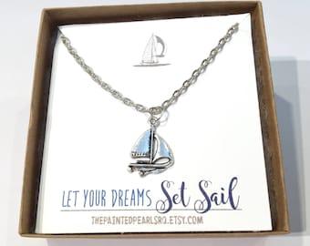 Sailboat Necklace, Sailboat Jewelry, Sailing Necklace, Sailing Jewelry, Nautical Jewelry, Nautical Necklace, Sailboat Party, Nautical Party