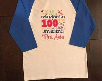 Adult Teacher Embroidered Raglan Shirt 100 Days of School