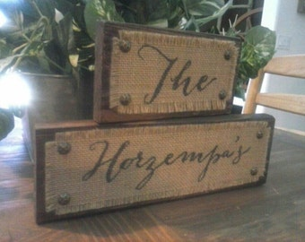 Burlap Family Name Sign, Rustic Home Decor, Custom Family Wood Sign, Custom Name Sign, Personalized Family Name Sign