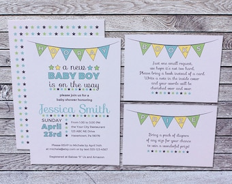 Printed Baby Shower Invitation Boy / Yellow Blue Green Stars Flags