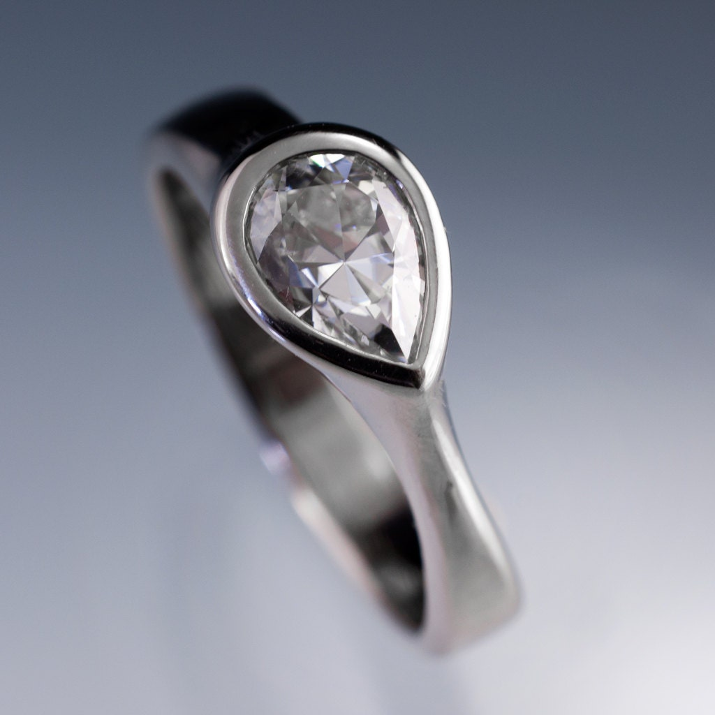 Pear Moissanite Ring Tear Drop Moissanite Engagement Ring In
