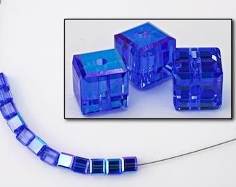 Swarovski 5601 Sapphire AB Cube Bead  (4mm, 6mm, 8mm)