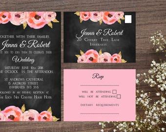 Floral poppy Chalkboard Wedding invite set
