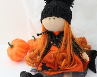 Halloween witch Rag doll Halloween decoration Witch doll Halloween gift Textile doll Fabric doll Decor doll Interior doll Art doll