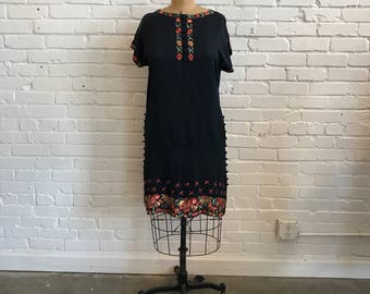 1920s Navy Silk Embroidered Tunic Dress // 20s Navy Floral Embroidered Dress // Vintage 1920s Tunic with Embroidery