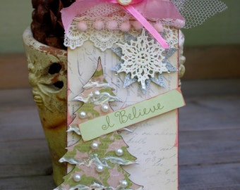 Holiday Christmas Tree Tag, Holiday Art Tag, Handmade Christmas Tag, OOAK Tag