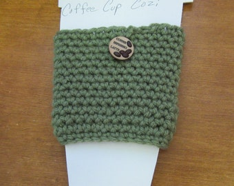Green Insulated Coffee Cup Cover, Handmade, Crochet, Can, Glass, Grande, large Cup Cozi, fits Peets/Coffee Bean/CBTL/McDonalds/Dunkin cups
