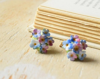 Ceramic Hydrangea Clip on Earrings | Made in England