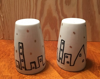 City scape salt and pepper shakers