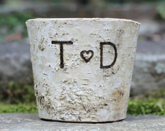 Birch Rustic Flower Pot Vase, Personalized Initials For Your Flower Arrangements, Table Centerpiece For Rustic Wedding