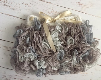Ready to Ship Crochet Ruffle Skirt Size 1-2 year in opal