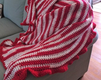 Large Afgahn in red and white, hand crocheted, so pretty with red trim, nice and warm on cool evening 58.95