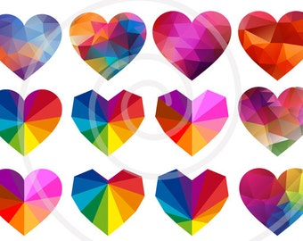 Abstract hearts digital clipart, geometric heartclip art set, pattern, triangle, polygon, low poly, colorful, EPS, SVG, instant download