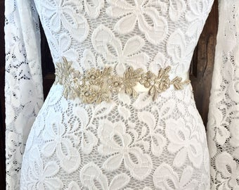 Gold lace wedding sash, gold wedding sashes and belts, gold sashes and belts, gold bridal sash, gold bridal belt, lace wedding belt