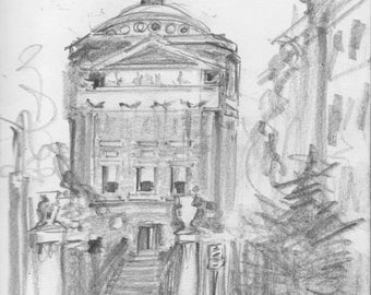 2 Columbia University prints - prints of original sketches of Low Library and Earl Hall