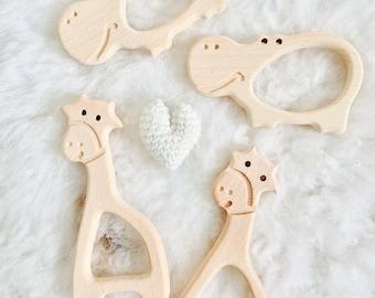 Wooden Teether Toys/ Hippo/ Giraffe/ Wooden Toys/ DIY/ Teether/ Food Grade/ Animal Teether/ Organic Teething/ Montessori Toy/ Teething Toy