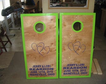 Custom Wedding Cornhole Boards Bag Toss with FREE Cornhole bags with upgrade options