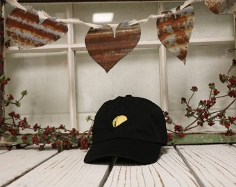 TACO Baseball Hat , Taco Lover Hat, Taco Tuesday Hats, Low Profile Hats, Embroidered Baseball Caps , Dad Hats Black