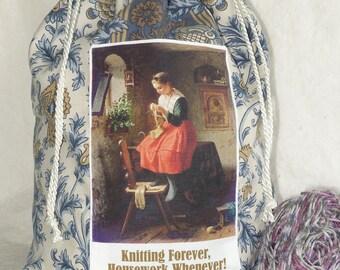 Forget Housework Knitting bag, knitting project holder in blue damask