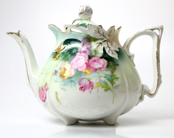Antique Porcelain Teapot - Unmarked RS Prussia - Exquisite Design