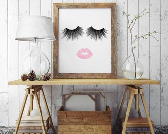 LIMITED TIME! Lips & Lashes Makeup Print INSTANT Download Digital Printable Watercolor Wall Decor Art, eyelashes, eyelash,