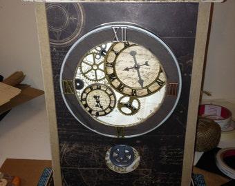 faux grandfather clock with hidden picture portfolio