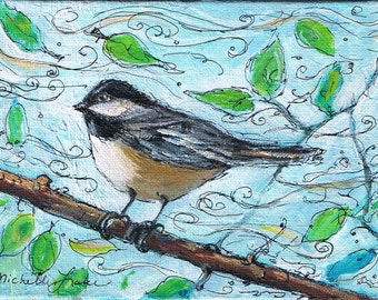 Chickadee Painting   Blustery Day 5 x 7 Original Acrylic Painting on Canvas Panel