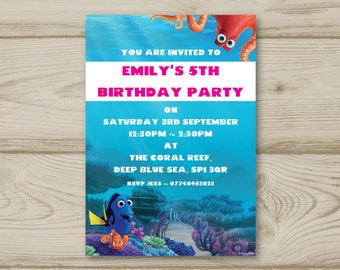 Disney Finding Nemo Dory Fish Ocean Boy or Girl Birthday Party Invitations Personalised