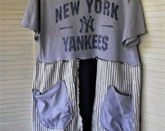 NY Yankees Upstyled Dress/ Refashioned Tee/ Funky Handmade/ Wearable Art/ Plus Size Dress/ Raw Seams/ Knit and Ticking/ Sheerfab Funwear