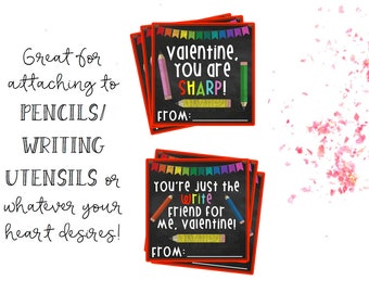 Instant Download, Valentines Day Tags, Printable Valentines, Valentines Printable, Crayon Valentines, School Valentines, Valentines Tags