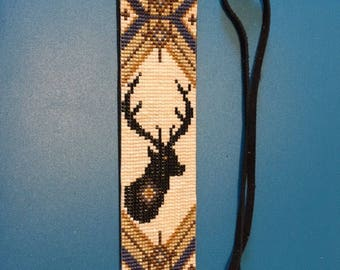 Elk Totem, Native American Inspired, Blue, Tan, Black and Brown, Delica Glass Loom Beaded Bracelet on Soft Black Leather with Tie Closure