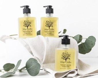 Body Oil, Natural Body Oil - Lavender, Lemongrass, Peppermint or Rose