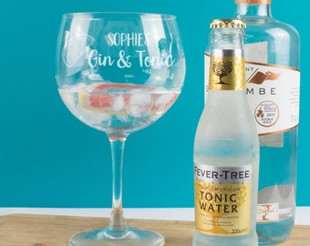 Personalised Gin and Tonic Copa Balloon Glass, Goblet, Gin Gift