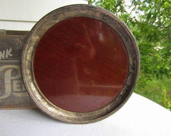 Vintage Silver Plated Wood Grain Formica Crescent Tray
