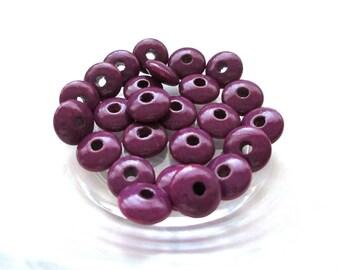 50 pacifier - plum flat wooden beads