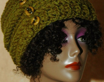 Olive Green Crochet Hat