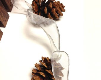 Pine Cone Garland / Natural Pine Cones Garland/Handmade Pinecones Garland/Rustic Wedding Garland/Mantel Decor/Fireplace Decor/Silver