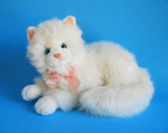 Vintage White Kitty Cat Nikki by Russ Berrie Kitten Blue Eyes Pink Ears Pink Nose Soft Fluffy 1980s Toy Plush