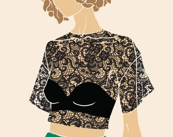 Fashion Illustration - Leila Lace (Black)