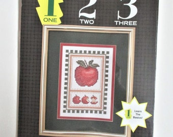 Apples to the Core Vintage Counted Cross Stitch Kit Progressive Level 1 Beginner Picture Kit Unopened Cross Stitch Kit JCA Inc. Craft Supply