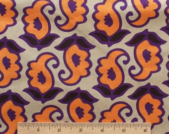 Annette Tatum fabric Mod TAJ AT57 Papaya orange purple black cream floral paisley sewing quilting free spirit 100% cotton fabric by the yard
