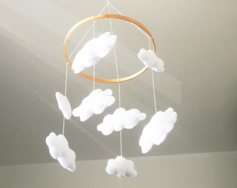 Baby Mobile Clouds , Felt Baby Mobile, Baby Crib Mobile, Nursery Mobile, Nursery Decor, Baby Mobile Hanging, Cloud Mobile